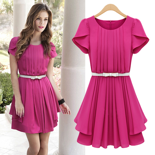 Europa Trend Hot Pink Royal Blue Lotus Sleeve Flouncing Ruffles Lady One Piece Dress With Fashion Belt Free S M L Xl Ship