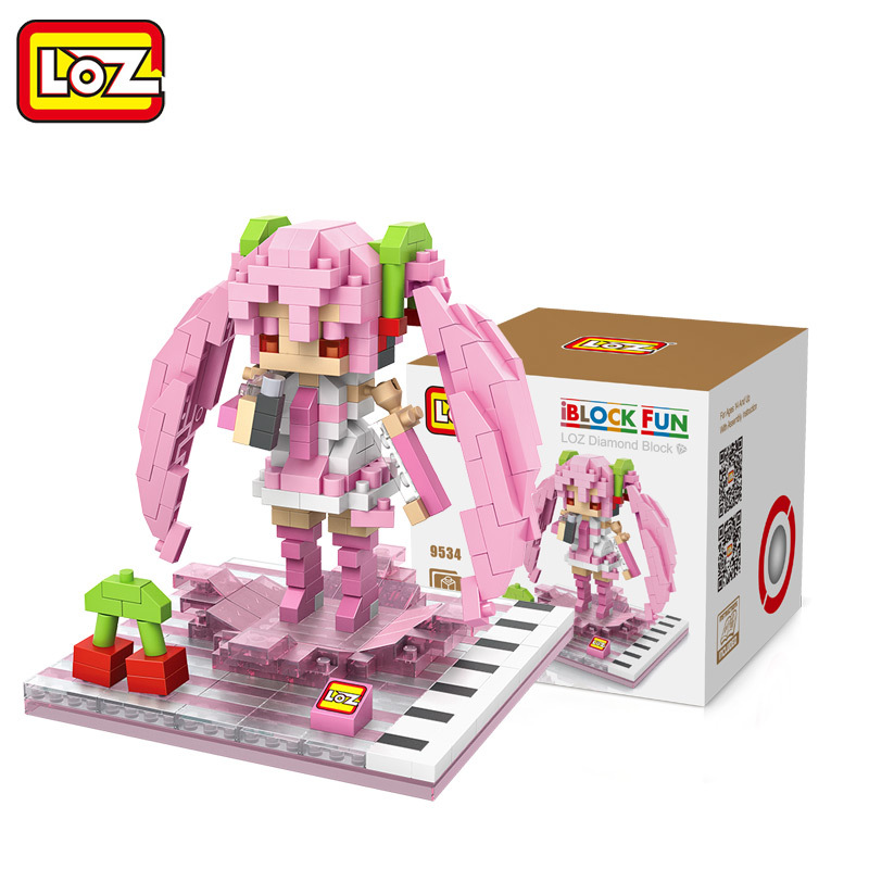 LOZ Diamant Blocs Sakura Miku Figurine Anime Fille Figurine Pop Poupee Musique Piano Rose Nano Assemblee Enfants Jouets