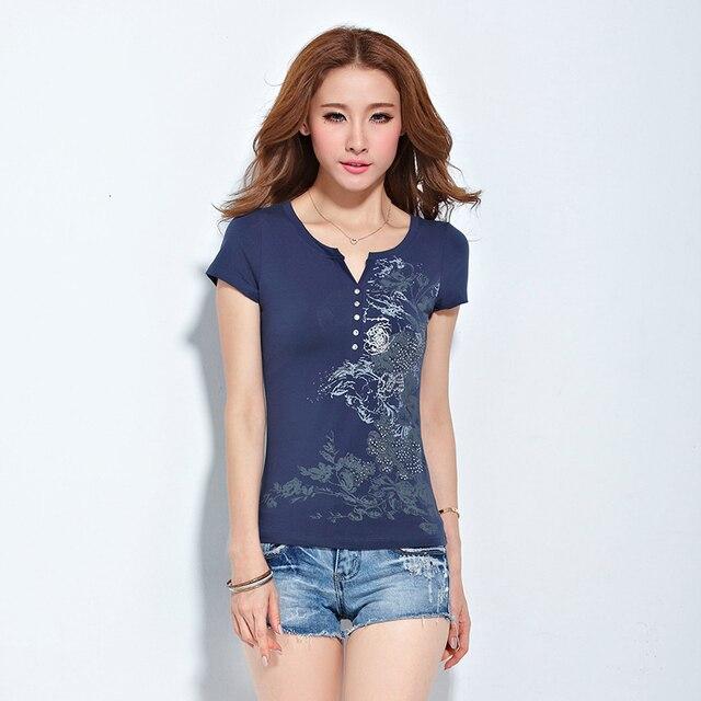 Плюс Размер Женской Одежды В Этническом Стиле V-образным Вырезом Печатных Повседневная Топы корейский Slim Fit Футболка Мода Футболка Femme Горячие Продажи 3XL