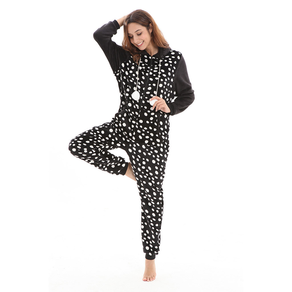 Casual Sexy Black And White 1 Women Tracksuit Printing Hooded Flannel Long Sleeve Onesies Tracksuit #G25