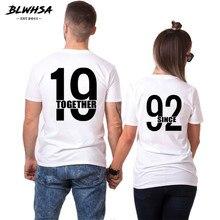 d4b01dd1c BLWHSA Desde 1992 Juntos Casal Engraçado T-Shirt Dos Homens T Shirt  Ocasional Das Mulheres Verão Tops T Para O Amante Do Anivers.