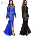 3XL-8XL plus size women V neck hollow lace long dress elegant women floor-length vintage sexy lace dresses black blue big size