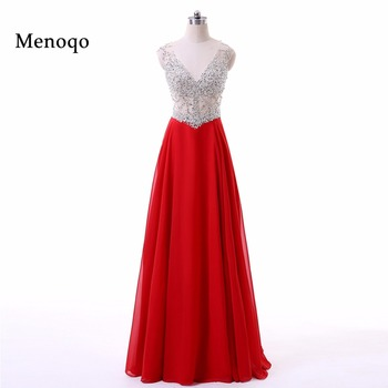 Sparkly Long Red Prom Dresses  V-neck robe de bal Sequined Cap sleeve vestido de festa Beading Formal Evening Party Gowns