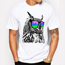 2018 Men T-shirt Short Sleeve Fashion Cool Owl t shirt Men Owl with Glasses 3D Printed Tee Shrit Homme Hipster Basic Tops shirts(China)