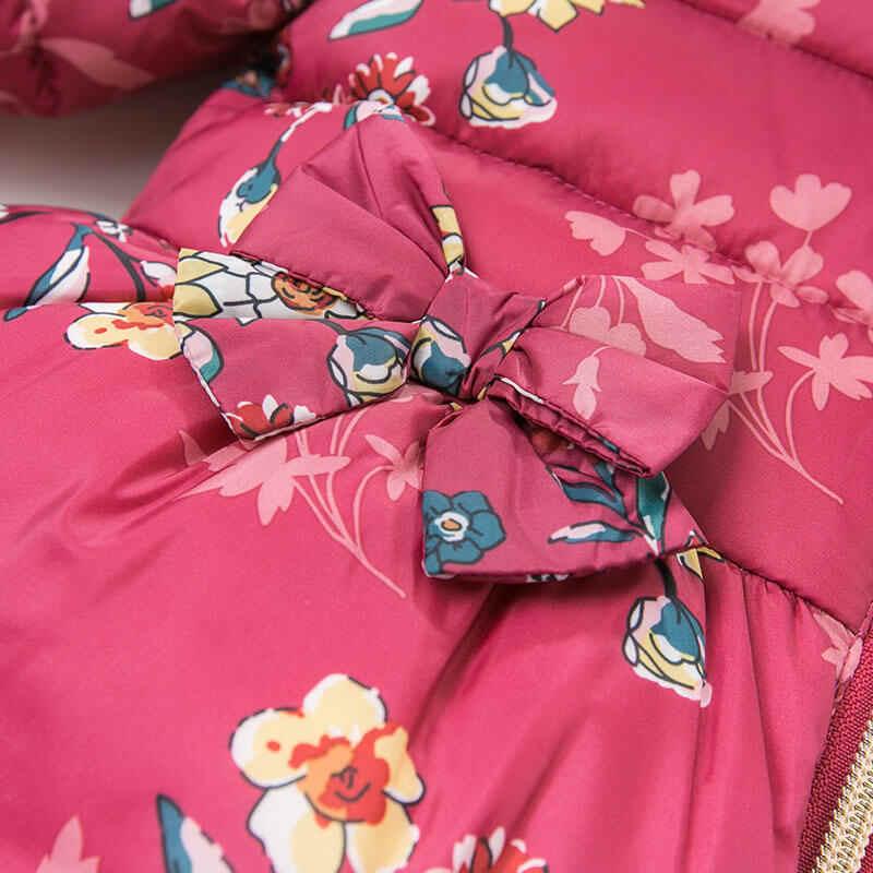 DBA7957 דייב bella חורף תינוק בנות פרחוני סלעית מעיל תינוקות ריפוד מעיל ילדים באיכות גבוהה מעיל ילדים ריפוד הלבשה עליונה