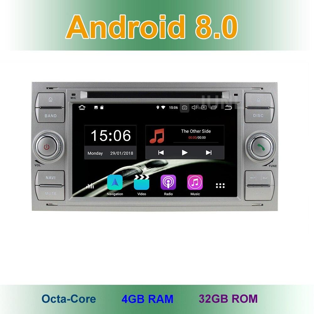 Android 8.0 Lecteur DVD de Voiture pour Ford Fiesta Transit Galaxy Fusion C/S MAX Kuga Vieux Focus/Focus 2 Wifi BT Radio GPS Navigation