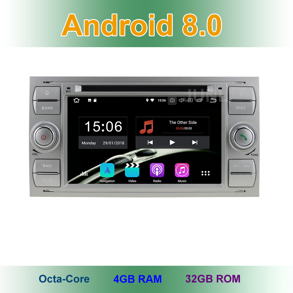 Android 8.0 Car DVD Player for Ford Fiesta Transit Galaxy Fusion C/S MAX Kuga Old Focus/Focus 2 Wifi BT Radio GPS Navigation