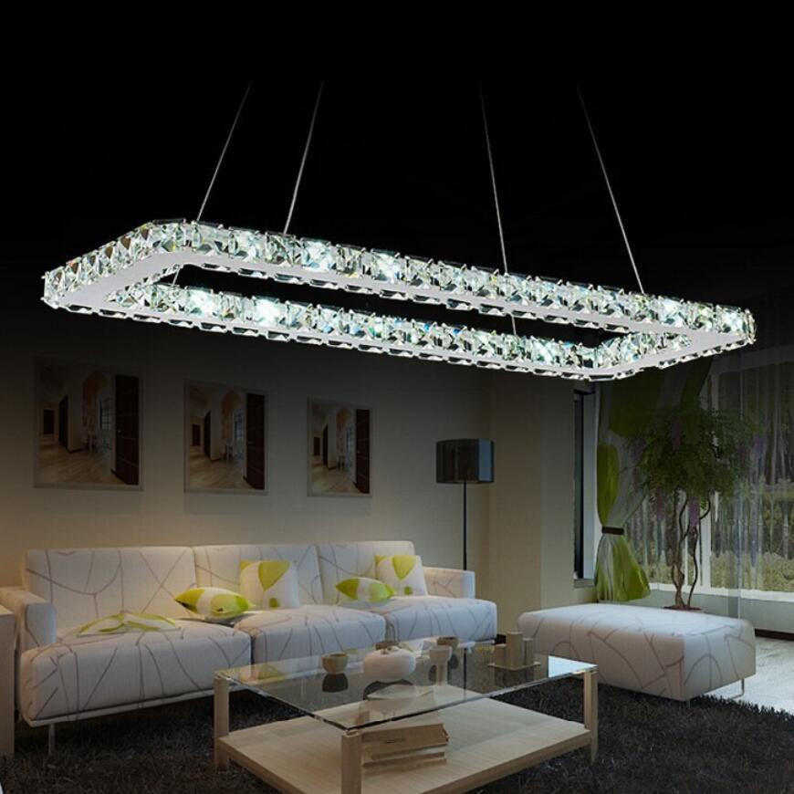 Luxurious Stainless steel Square Crystal chandelier led Lamp High power modern living chandelier led lustre chandeliers