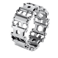 Tread Multifunction stainless steel Wear bracelet bangle Strap tool Screwdriver can opener hex wrench Free combination 29 tools