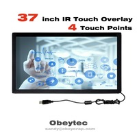 Obeytec 37 inch Infrared multi touch screen panel Kit, 4 Points, Driver free For Windows/ Android/ Linux, USB Touch Overlay