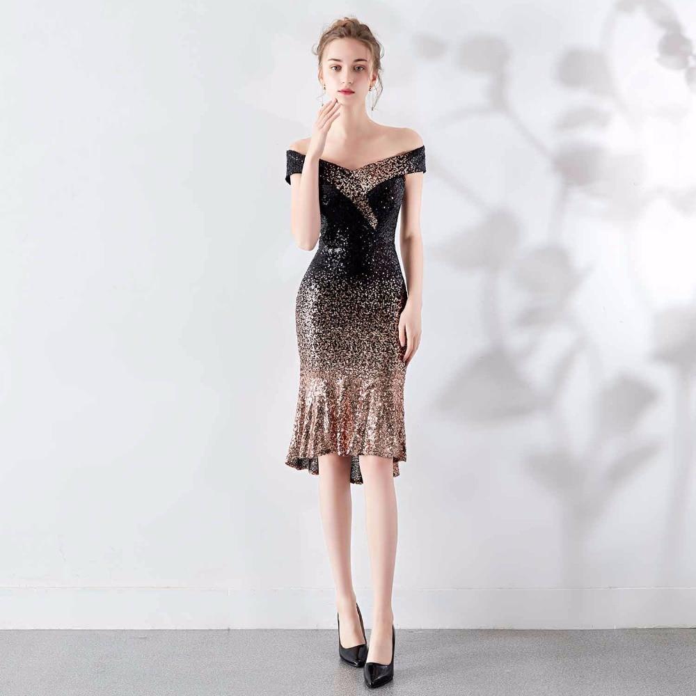 Noir & or paillettes col en V épaule dénudée manches courtes Chic Sexy élégant Club robe femmes nuit fête porter des robes d'été