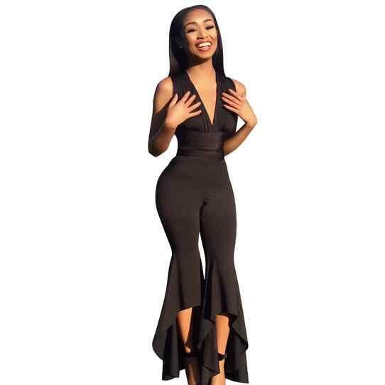 Облегающий комбинезон с широкими штанинами, глубокий v-образный вырез, летний Боди, женские сексуальные Клубные вечерние комбинезоны черного и белого цвета, женский комбинезон WF191
