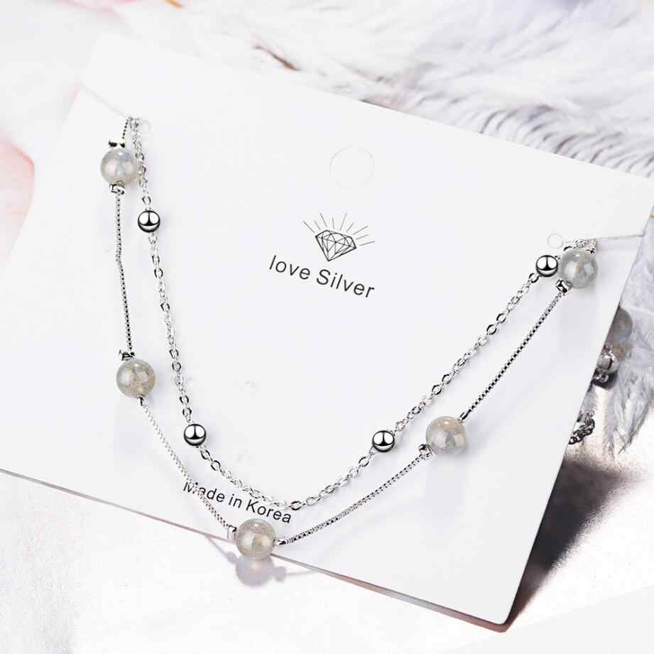 MEEKCAT 100% Real 925 Sterling Silver Fine Jewelry Red Garnet Stone Bead Chain Necklaces for Women Statement Necklace Choker
