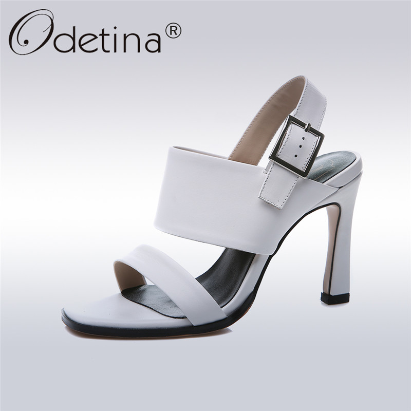 Odetina 2018 New Fashion Genuine Leather Women Ankle Strap Sandals Sexy Stoletto High Heels Summer Shoes Open Toe Big Size 34-43 new ankle strap open toe high heels sexy ladies shoe women summer gold silver black sequins leather sexy sandals shoes smybk 022