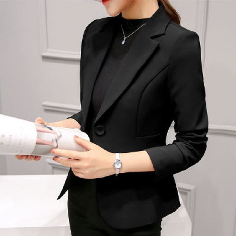 2019 New Spring Autumn Notched  Office Ladies  Quality Slim Long Sleeve Blazers Solid Color Womens Single Button Small Suit