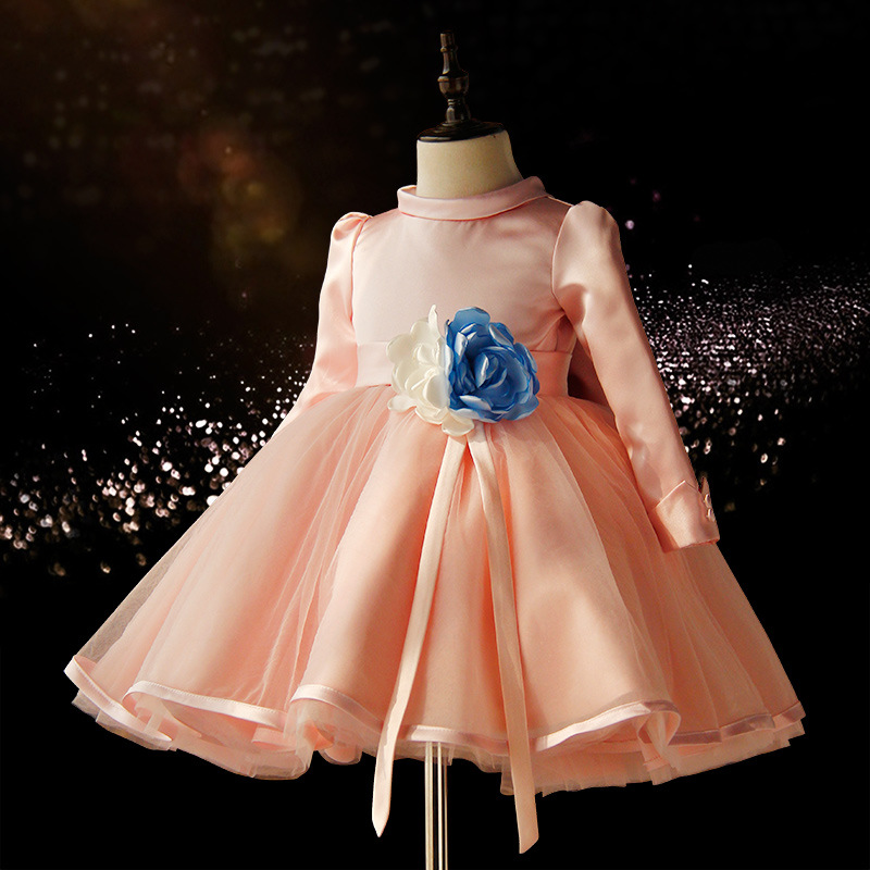 ФОТО 2017 new ball gown -flower girl dresses for weddings pink teenage baby girls party dress kids long sleeve spring autumn clothes