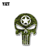YJZT 13.9CM*10.2CM Army Punisher Skull Star Vinyl Decal Reflective Funny PVC Car Sticker 12-0505(China)