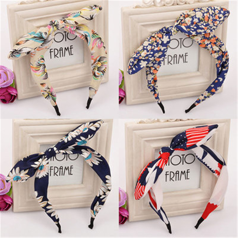 Floral Bow Hair Hoop Fashion Wave Point Rabbit Ear Hair Hoop Girls Rabbit Ears Head Hoop Children Headdress Hair Accessories