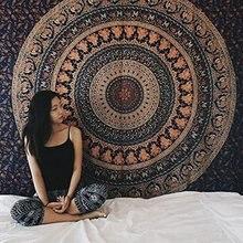 Мандала чакр гобелен настенный хиппи цыганский Бохо-стиль макраме слон гобелен покрывало одеяло Большой Йога пляжное полотенце