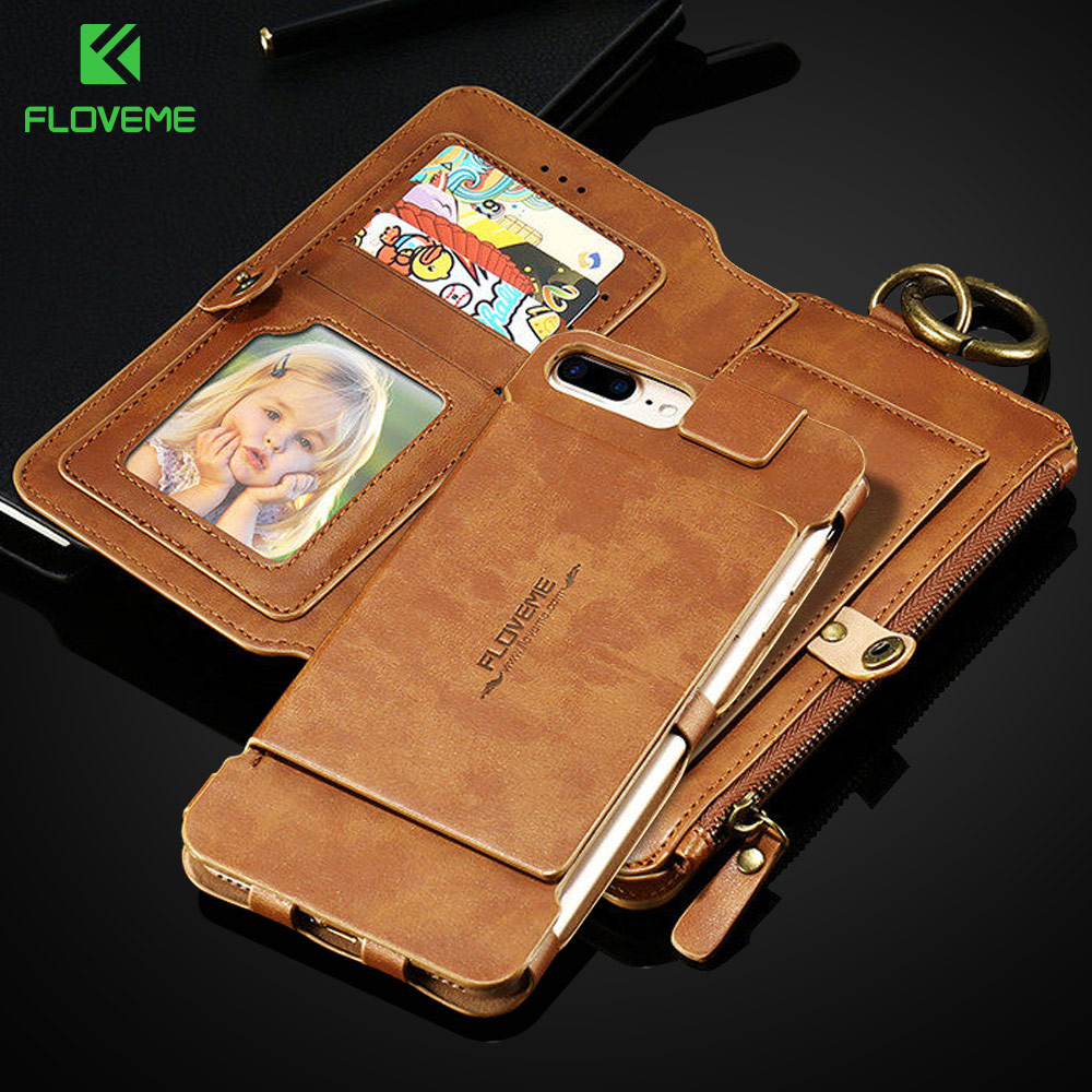 FLOVEME Wallet Case For iPhone 7 6S 6 Plus 5 5S Cover For Samsung Galaxy S8 Plus S6 S7 Edge Card Slot Shells For Huawei P10 P9