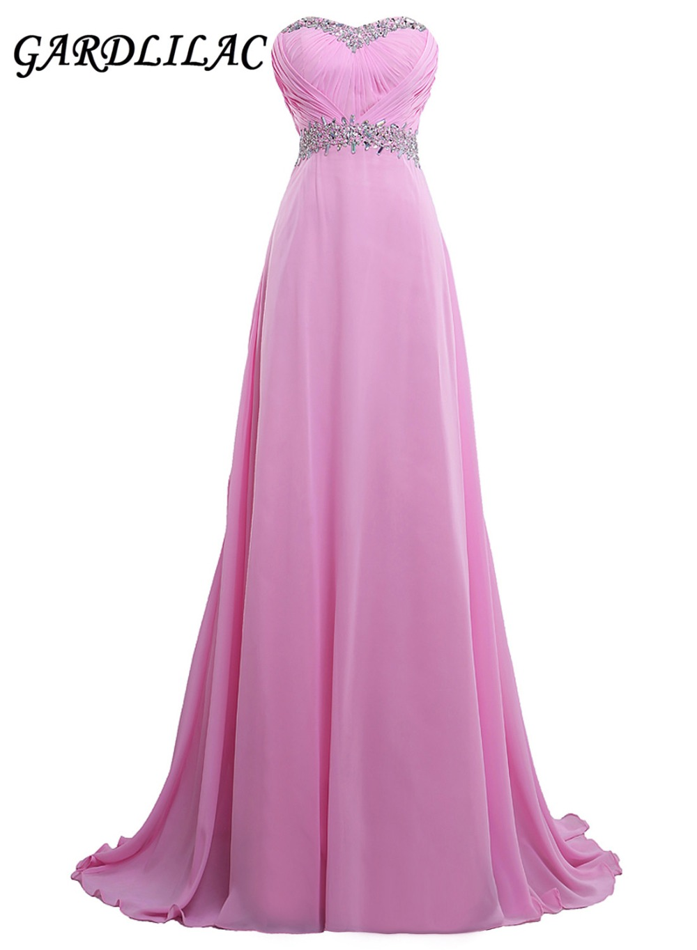 New Sweetheart Pink Long Bridesmaid Dresses 2019 Plus Storlek Chiffon Bröllopsfest Kappa Med Pärlor Maid of Honor Prom Kjole