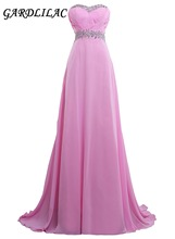 New Sweetheart Pink Long Bridesmaid Dresses 2019 Plus Size Chiffon Wedding Party Gown With Beads Maid of Honor Prom Gown