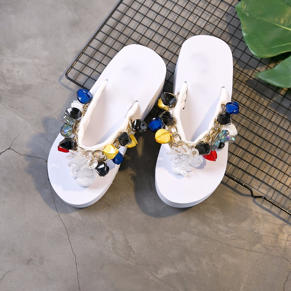Jookrrix 2018 Summer Fashion Brand Seaside Slides Girl Beach Slipper Shoes Women Lady Slides Mules Holiday Flip Flops Rhinestone цена