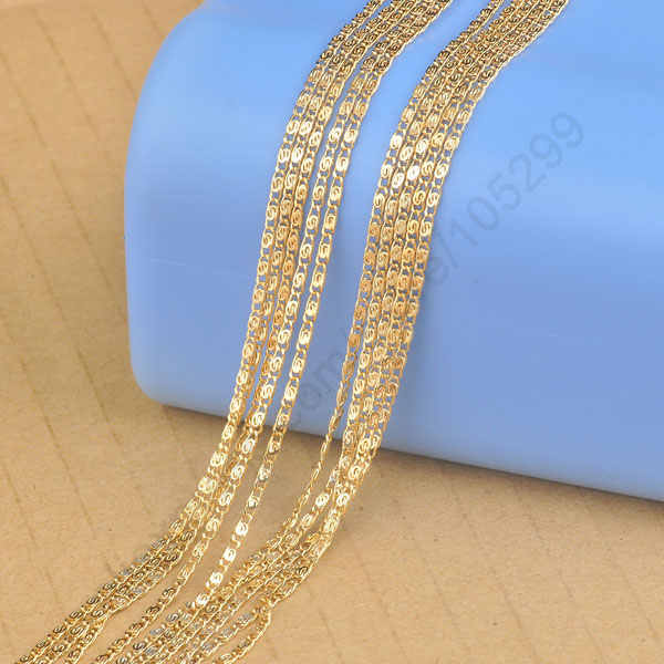 "Fast Shipping 5PCS Lot 20"" Yellow Gold Filled Jewelry Findings Flat S GF Link Necklaces Chain For Pendant  GF Stamp"