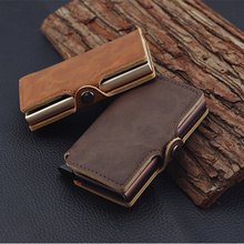RFID Business Credit Card Holder Men Multifunction Automatic Aluminium Alloy Leather Cards Case Mini Wallet Slim Coin Purse cheap Coin Pocket Interior Compartment Interior Slot Pocket Short Solid Synthetic Leather Mini Wallets 6 5cm CALFA-002 1 5cm 10cm