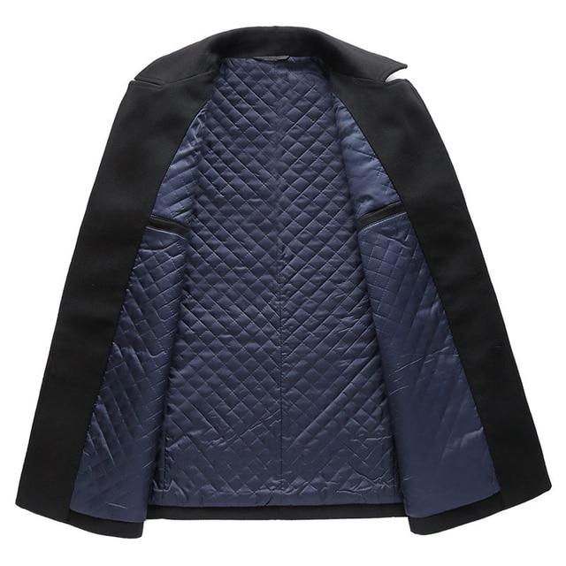 2018 Autumn New Long Excellent Quality Pea Coat Men Slim Turn Down Collar Laine Manteau Double Boutonnage 1
