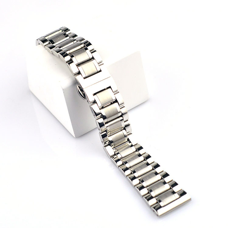 Polished Metal Stainless Steel Silver Strap 14mm 16mm 18mm Stainless Steel Strap Men's Silver Bracelet Replacement Solid Link polished stainless steel ice utility tong 30cm length