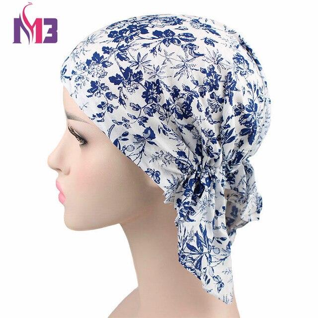 Fashion Women Turban Print Headwear For Chemo Pre Tied Bandanas Wrinkle  Turban Hat Headband Hair Accessories Headscarf d019b2be8e5