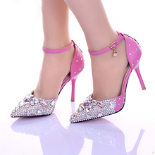 Luxurious Lady Diamond Wedding Shoes Pink Crystsal High Heel Bridal Shoes Sexy Pointed Toe Ankle Strap Prom Shoes