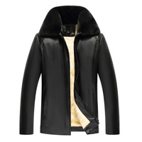 old men's fur collar zipper with thick inner liner PU leather jacket for father to wear warm autumn and winter jacket