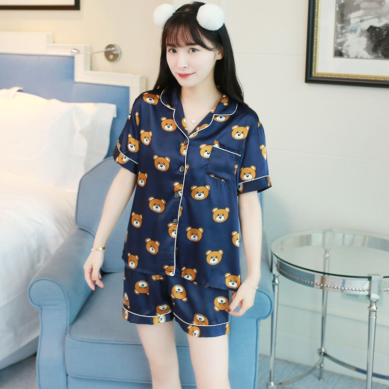 2019 Summer Short Sleeve Silk Satin Pajama Sets for Women Shorts Pyjama Cartoon Print Sleepwear Loungewear Homewear Pijama Mujer