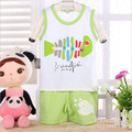 New 2015 summer style ,100% Cotton Baby Children clothing sets, t-shirt+ Half pants set ,Baby Boys and girls sleeveless vest set