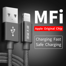 BR MFi Lightning USB Cable For iPhone X 8 7 6 Plus SE Cable Fast Data For iPhone XS MAX XR iPad Charging Charger Wire Cord Braid