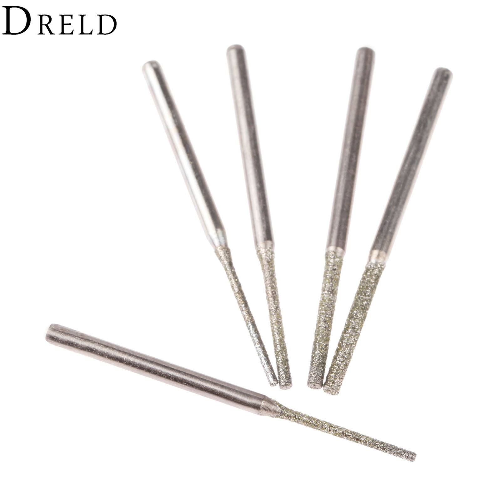 DRELD 5Pcs 2.35mm Shank Diamond Grinding Head Grinding Emery Punching Pin For Stone Jade Carving Rotary Tools Dremel Accesories