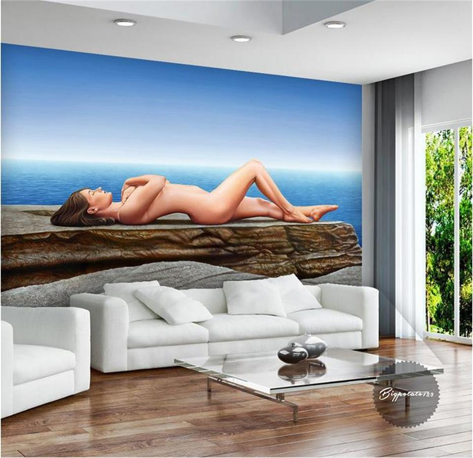 3d wallpaper custom photo mural non-woven sea Sexy nude beauty sofa background wall painting living room wallpaper for walls 3d 3d room wallpaper custom mural non woven wall sticker tree trunk 3d printed bedroom tv wall painting photo wallpaper for walls