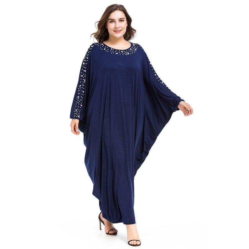 Arabe élégant lâche Abaya caftan mode islamique perles Robe musulmane conception de vêtements femmes manches chauve-souris dubaï Abaya Robe bleu marine - 4