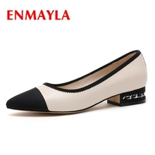 ENMAYLA   Pointed Toe  Genuine Leather  Casual  Slip-On  Square Heel  High Heels  Ladies Shoes  Pumps Size 34-42 ZYL2274 цена 2017