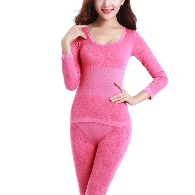 New Women Winter Thermal Warm Sloid Underwear Suit Ladies Thermal Underwear Set Women Long Johns L2