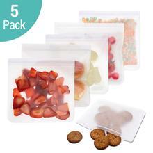 5 ชิ้น/ล็อต EVA แช่แข็งถุง Reusable กระเป๋า Leakproof ถุง Ziplock Resealable ถุงแซนวิชสำหรับอาหารกลางวันอาหารขนมขบเคี้ยวแต่งหน้า