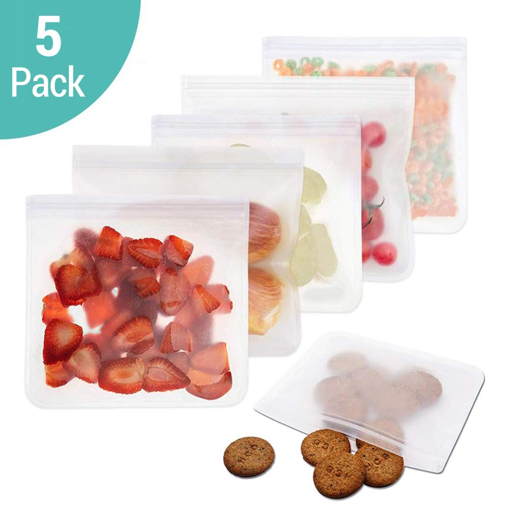 5Pcs/lot EVA Freezing Bags Reusable Food Storage Bags Leakproof Ziplock Bags Resealable Sandwich Bag For Lunch Food Snack Makeup