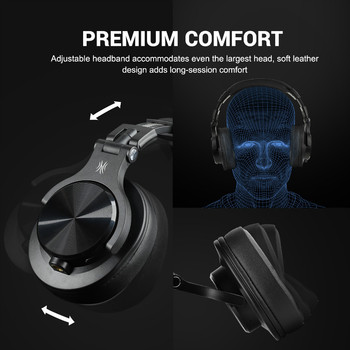 OneOdio A70 Wireless Bluetooth Headphones Over Ear Professional Studio Recording Monitor Wired DJ Headset With Microphone 2