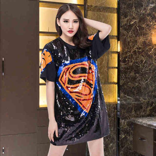 2017 summer women street cute long loose cartoon superman sequins t shirt  short sleeve straight black fashion tees cd8587ad158b