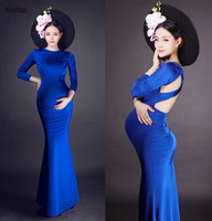Royal Blue / Red Maternity Evening Dress Long Sleeve Mermaid Backless Prom Party Cocktail Pageant Dress Bridal Gown