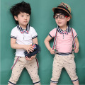 2016 summer new arrival gentleman suit t-shirt + strap + suit pants suit children arc shaving kit pink Free Shipping