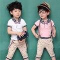 2016 verão new arrival gentleman suit t-shirt + strap + calças terno terno crianças do arco rosa kit de barbear Frete Grátis