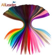 Alileader clipe de extensão de cabelo, na peça 50 cm 20 Polegada longo ombré, peça sintética, extensões de cabelo falso, tom de reboque rosa roxo azul